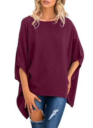 Plus Size Solid Casual Round Neckline 3/4 Sleeves Blouses
