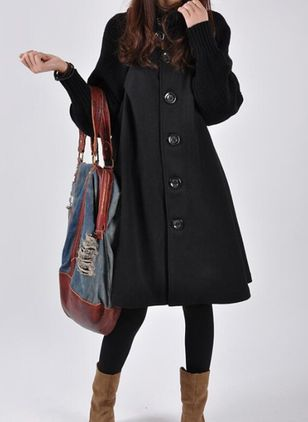 Long Sleeve High Neckline Buttons Sweaters Coats (107561269)