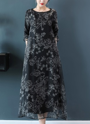 Floral Embroidery Half Sleeve Maxi Shift Dress