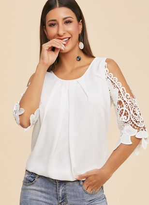 Solid Cute Round Neckline 3/4 Sleeves Blouses (1212323)