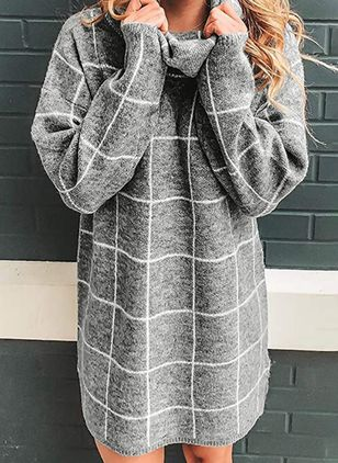 High Neckline Plaid Casual Loose Long Shift Sweaters (107952997)