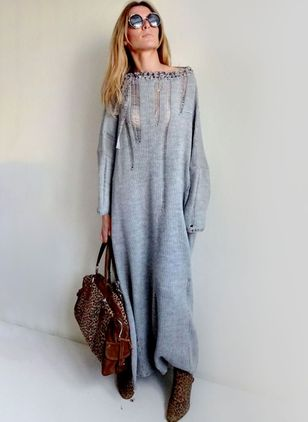 Solid Hollow Out Sweater Maxi Shift Dress