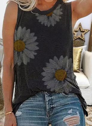 Floral Casual Round Neckline Sleeveless Blouses (4127996)