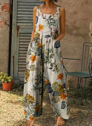 Casual Loose Pockets High Waist Polyester Pants Jumpsuits (146930719)