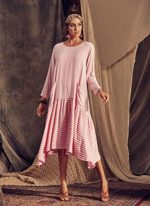 Casual Stripe Pockets Round Neckline A-line Dress (1296823)