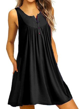 Casual Solid Tunic Round Neckline A-line Dress (1519985)