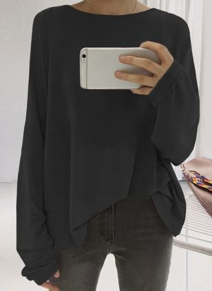 Boat Neckline Solid Oversized Loose Regular None Sweaters