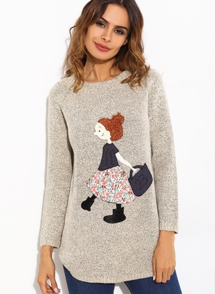 Cotton Round Neckline Character Loose Others Sweaters