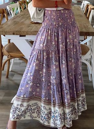 Floral Maxi Vintage Pattern Skirts (4127659)