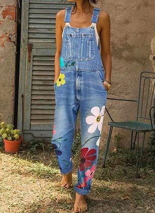 Casual Straight Buttons Pockets Mid Waist Denim Jumpsuits (1446484)