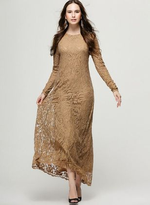 Solid Lace Long Sleeve Maxi Shift Dress