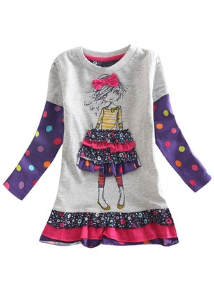 Girls' Character Daily Long Sleeve Dresses