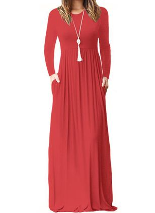 Casual Solid Round Neckline Maxi X-line Dress (110516976)