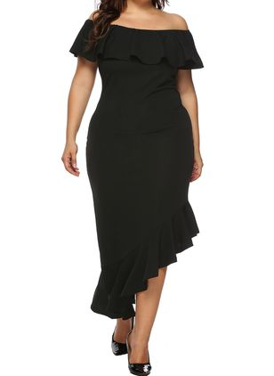 Plus Size Pencil Solid Off the Shoulder Elegant Ruffles Plus Dress (1508468)