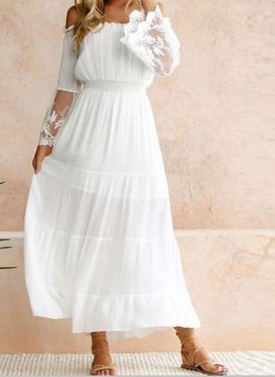 Elegant Solid Off the Shoulder Maxi X-line Dress (147082925)