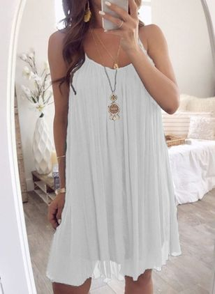 Casual Solid Slip Camisole Neckline Shift Dress (4209152)