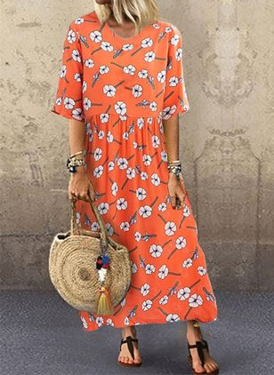 Casual Floral Tunic Round Neckline A-line Dress (100001996)