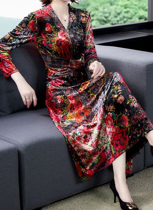 Casual Floral V-Neckline Midi X-line Dress (135452562)