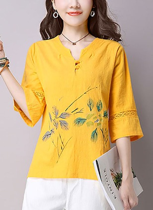 Cotton Floral V-Neckline 3/4 Sleeves Casual T-shirts