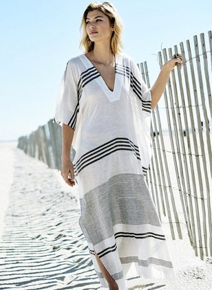 Polyester Stripe Cover-Ups Swimwear