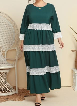 Plus Size Casual Color Block Round Neckline Maxi A-line Dress (6046887)