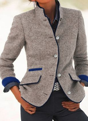 Long Sleeve Stand Collar Buttons Blazers Coats (146820540)