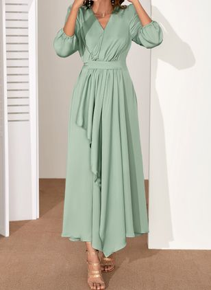 Elegant Solid V-Neckline Maxi X-line Dress (1531922)