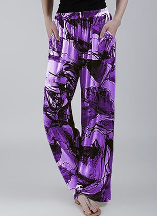 Casual Loose Pockets Mid Waist Polyester Pants (146722631)