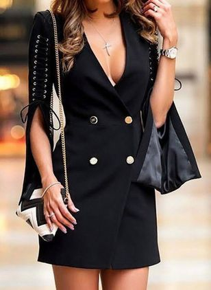 Solid Buttons Half Sleeve Above Knee Sheath Dress