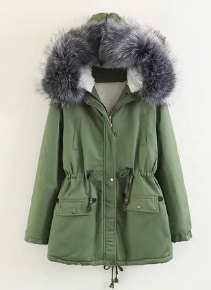 Cotton & Cotton Blend Long Sleeve Hooded Sashes Buttons Zipper Pockets Unremovable Fur Collar Padded Coats