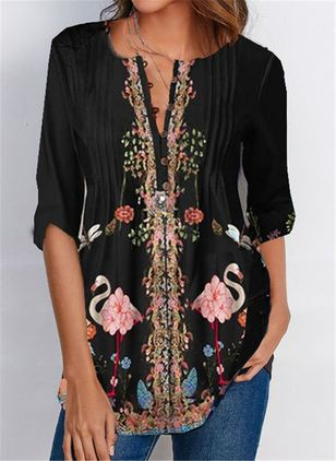 Floral Casual V-Neckline 3/4 Sleeves Blouses (111608110)