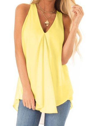 Solid Casual V-Neckline Sleeveless Blouses (147037570)