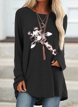 Animal Casual Round Neckline Long Sleeve Blouses (100772781)