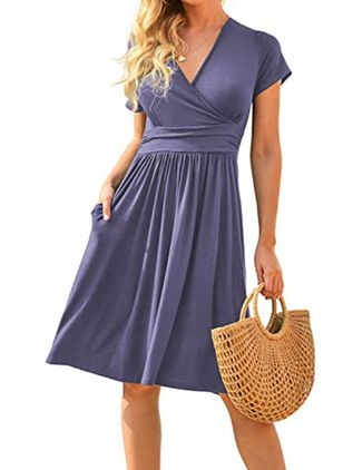 Casual Solid Skater V-Neckline X-line Dress (147948706)