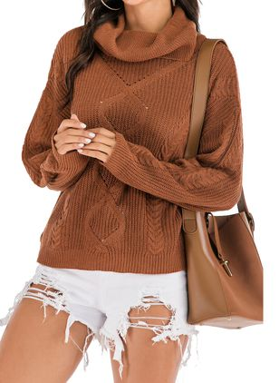 Draped Neckline Solid Casual Loose Regular Shift Sweaters (103038032)