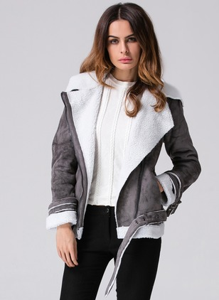 Long Sleeve Lapel Zipper Jackets (1029199)