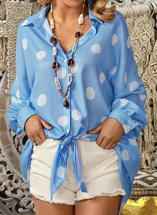 Plus Size Polka Dot Casual Collar Long Sleeve Blouses (1517728)