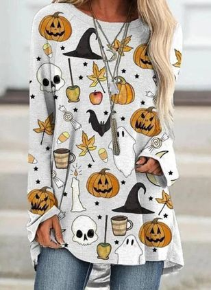 Color Block Halloween Round Neckline Long Sleeve Blouses (108088424)