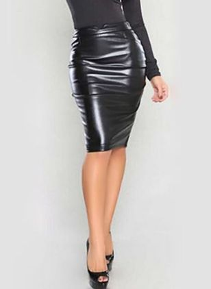 Solid Knee-Length Sexy None Skirts