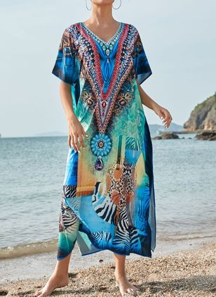 Polyester Geometric Cover-Ups Swimwear (111607844)