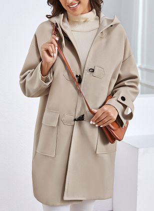 Long Sleeve Hooded Buttons Pockets Duffle Coats (1255836)