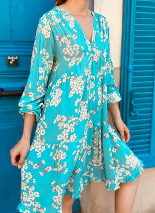 Casual Floral Tunic V-Neckline Shift Dress (101326377)