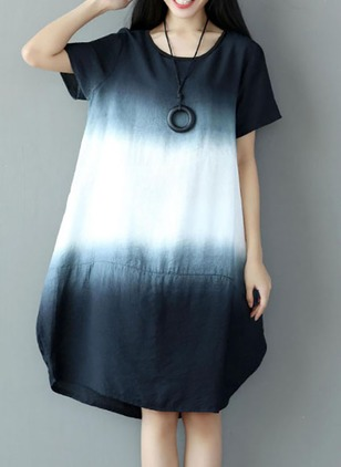 Cotton Color Block Short Sleeve Shift Dress
