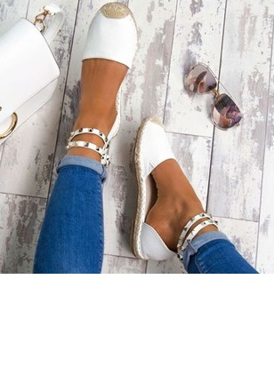 Rivet Closed Toe Nubuck Flat Heel Shoes