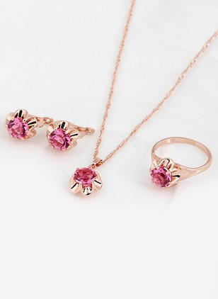 Floral Gemstone Necklace Earring Ring Jewelry Sets
