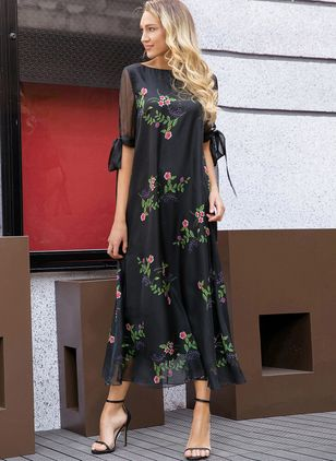 Arabian Floral Tunic Round Neckline A-line Dress (1174003)
