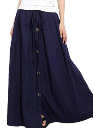 Solid Maxi Casual Buttons Skirts