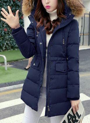 Long Sleeve Hooded Buttons Zipper Pockets Removable Fur Collar Padded Coats