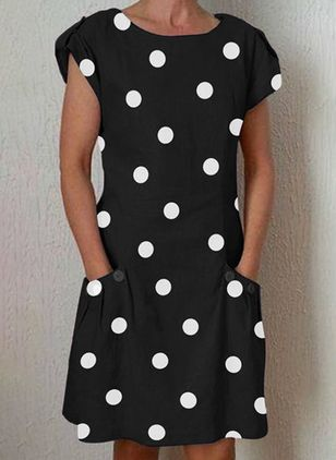 Plus Size Casual Polka Dot Tunic Round Neckline Shift Dress (4541340)
