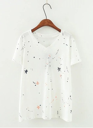 Polyester Spandex Floral V-Neckline Short Sleeve Casual T-shirts